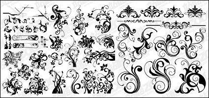 free vector Number of black-and-white pattern vector material for fashion