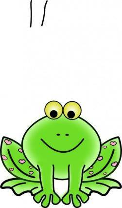 Green Valentine Frog With Pink Hearts clip art
