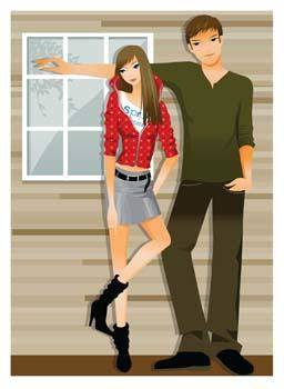 free vector Happy couple in love 1