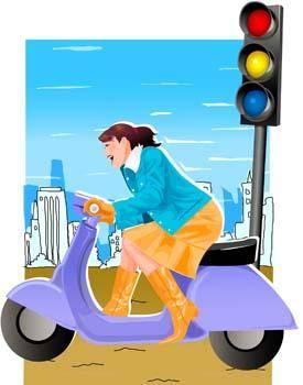 free vector Motorcycle girl 3