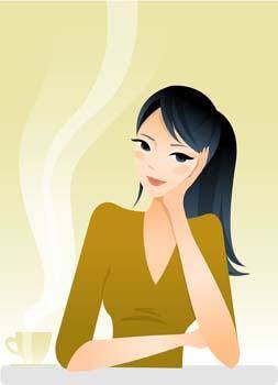 free vector Beautiful Girl with a cup of coffee 4