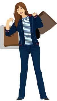 free vector Shopping girl 5