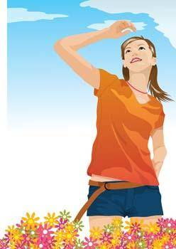 free vector Beautiful girls vector 1