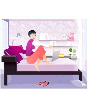 free vector Girl On bed 2