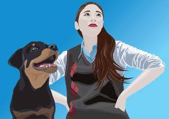 free vector Girl and dog 8
