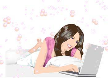 free vector Beautiful girl lay and chat with her laptop