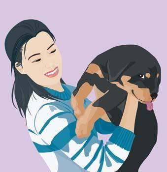 free vector Girl and dog 9