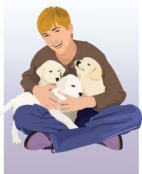 free vector Boy and dog vector 1