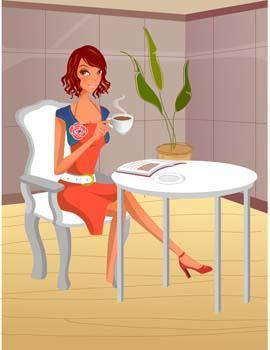 free vector Beautiful Girl with a cup of coffee 19