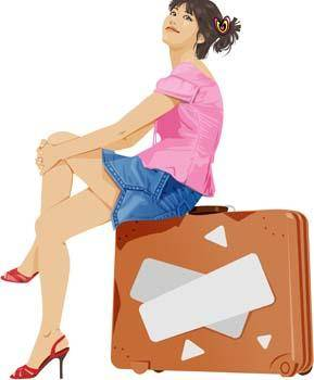 free vector Beautiful girl in sit positions 1