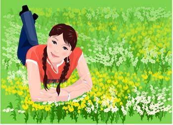 Girl in lay position vector 5