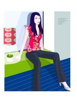 free vector Beautiful girl in sit positions 4