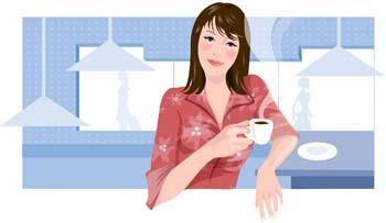 free vector Beautiful Girl with a cup of coffee 1
