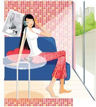 free vector Girl On bed 1