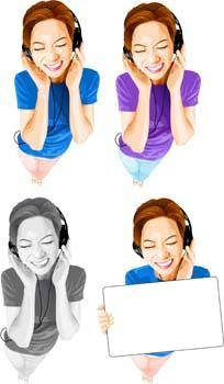 free vector Girl and Music 4