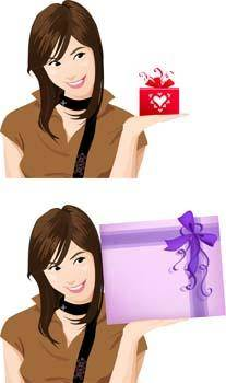 free vector Beautiful Girl with Gift