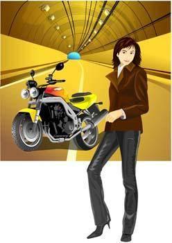 free vector Motorcycle girl 4