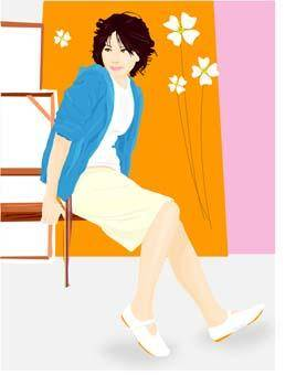 free vector Beautiful girl in sit positions 6