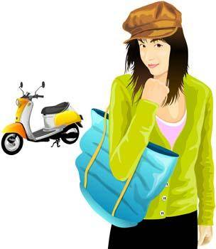 free vector Motorcycle girl 5