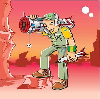 free vector Dangerous boy with rocket launcher