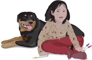 free vector Girl and dog 12