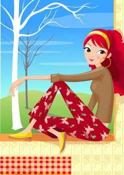 free vector Sit girl position vector 39