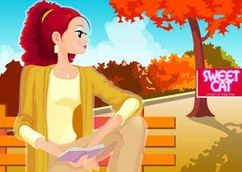 free vector Beautiful girl in sit positions 17