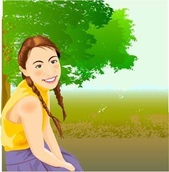 free vector Sit girl position vector 20