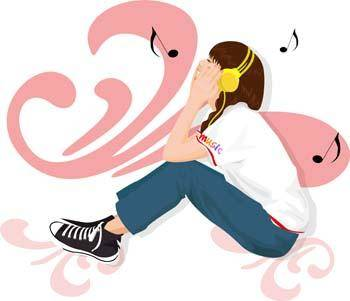 free vector Girl and Music 2