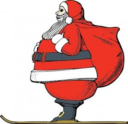 Skiing Santa clip art