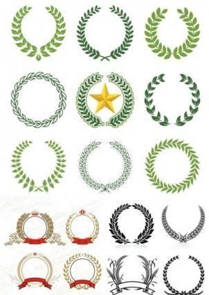 free vector Laurel Wreaths pattern design