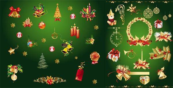 Gold Christmas Decorative Elements Vector Gold Christmas