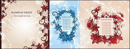 free vector 3 vector fashion flowers frame material-2