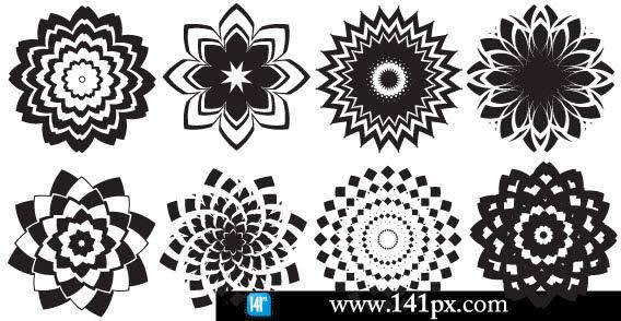 Design elements - White & Black Abstract flowers