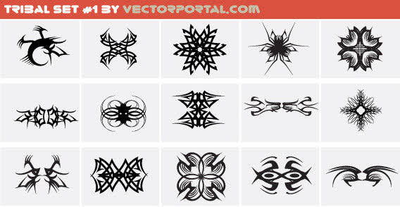 Design elements - Tribal set free vector