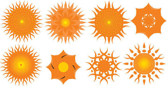 Design elements - Orange sun free vector