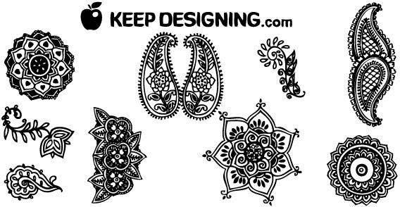 Design elements - Indian henna design free vector