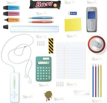 Phone Mp3 Player Pencil Calculator and Office set vector