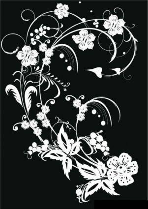 free vector Black & White Flower Decoration