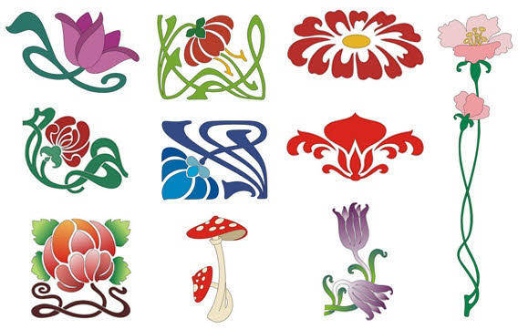 Design elements - Colourful Flowers free vector