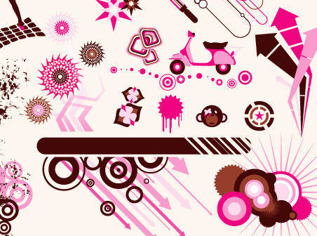 Design Elements Brown & Pink Vector Graphics