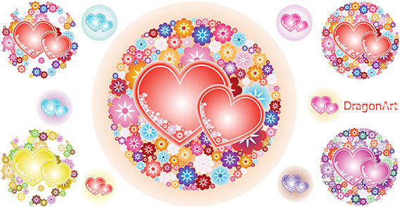 free vector Vector Flowery Hearts