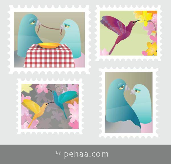 free vector Four Colorful Stamps