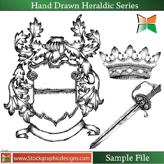 free vector Hand Drawn Heraldic Series