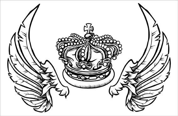 free vector Fashion Crown and Wings