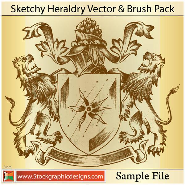 Sketchy heraldry free vector