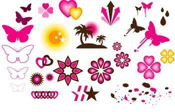 free vector Butterly love and star patern vector
