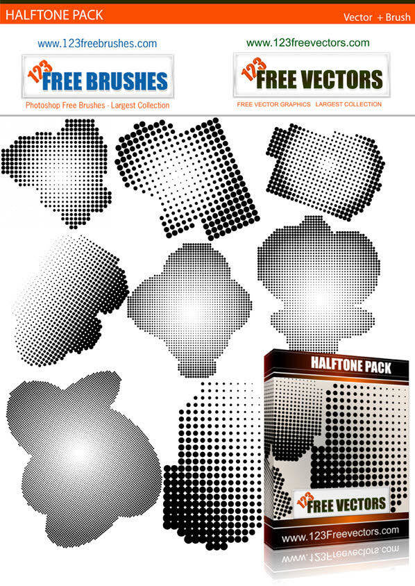 free vector Halftone Free Vector and Photoshop Brush Pack