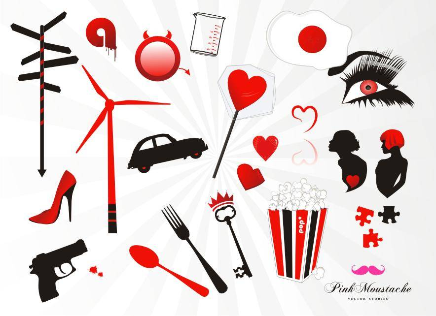 free vector Set: red, black, white elements
