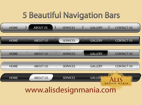 5 Beautiful Web Navigation Bars